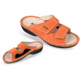 3701-P145 narancssárga bütyökkímélő, női, bőr papucs, 36-41